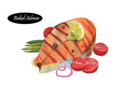Baked salmon fillet with rosemary, lemon, tomatoes and honey isolated on white. Delicious fish barbecue. Red trout fish steak with green onions and seasonings. Seafood dish. Sturgeon. Atlantic salmon Reklamní fotografie