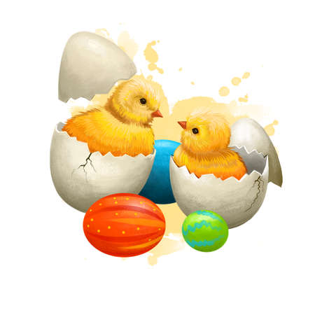 Easter chicken with holiday eggs isolated on white. Traditional little hen symbol of christianity. Happy Easter digital banner in cartoon style. Springtime poster. Clip art illustration greeting card