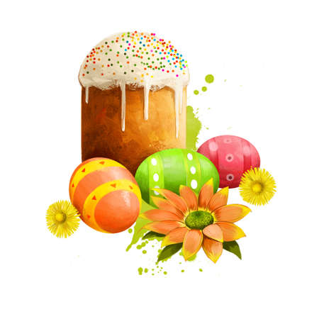 Paska bread with eggs isolated on white. Easter bread eaten Eastern European countries. Greeting card design, holiday poster, national food. Happy Easter digital banner. Clip art colorful illustration