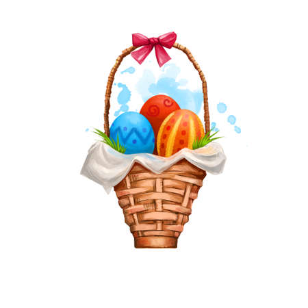 Basket with eggs happy Easter digital banner. Three colorful eggs in wooden basket with bow. Clip art illustration. Decorative greeting card element in cartoon style. Springtime holiday color poster Reklamní fotografie