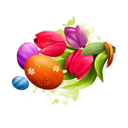 Happy Easter digital banner. Spring tulips and decorated easter eggs isolated on white background. For posters, banners, greeting cards. Clip art illustration. Postcard element in cartoon style.