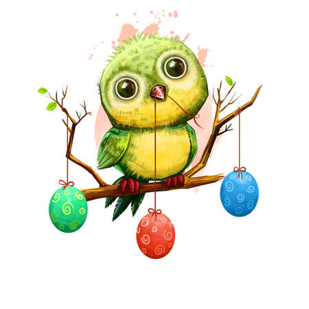 Cartoon bird on branch with holiday eggs isolated on white. Traditional symbol of christianity. Happy Easter digital banner in cartoon style. Springtime poster. Clip art illustration greeting card. Reklamní fotografie