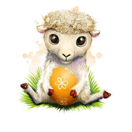 Yealing lamb with easter egg isolated on white. Traditional symbol of christianity. Happy Easter digital banner in cartoon style. Springtime poster. Clip art illustration greeting card. Reklamní fotografie
