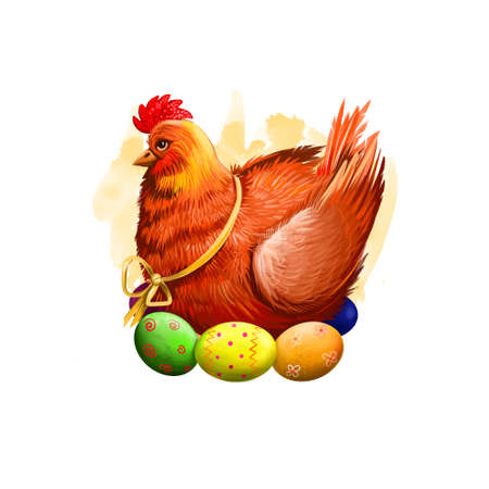 Easter chicken with holiday eggs isolated on white. Traditional little hen symbol of christianity. Happy Easter digital banner in cartoon style. Springtime poster. Clip art illustration greeting card.