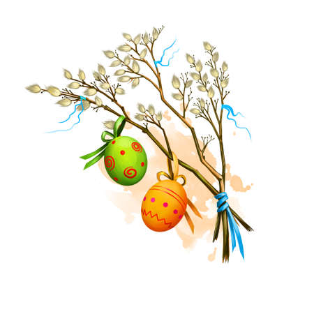 Happy Easter digital banner. Spring willow branches with decorated easter eggs isolated on white. For posters, banners, greeting cards. Clip art illustration. Postcard element in cartoon style. Reklamní fotografie