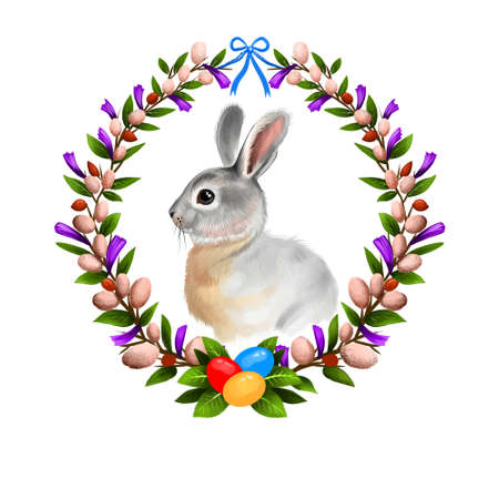 Happy Easter digital banner with rabbit in realistic style in willow frame decorated with eggs. Bunny greeting card design. Adorable hare banner poster for holiday celebration clip art illustration.