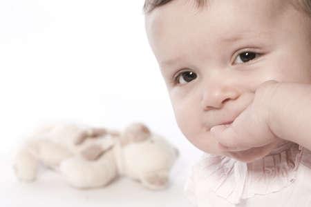 little children portraits taken in the studio on a white background Stock Photo