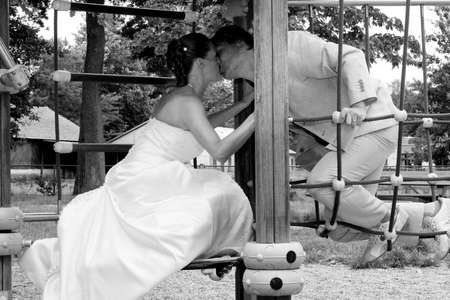 desaturated: pictures shooten on a wedding day from a beauty couple and child Stock Photo