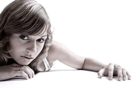 Young beauty teenage girl in the photo studio.