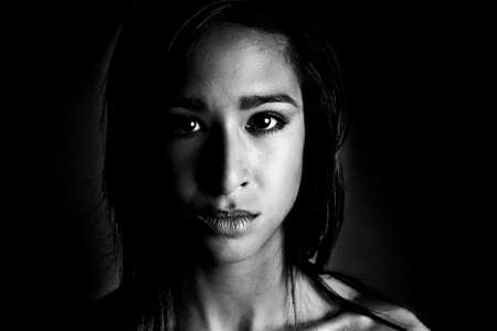 desaturated: A 15 year old pretty girl in the photo studio on different backgrounds in different styles.