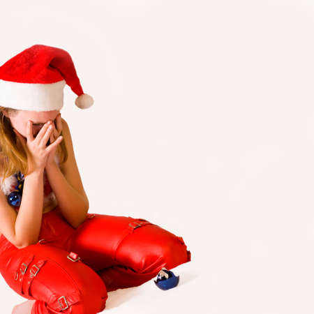faerie: Portrait of a crying christmas faerie with a broken crhistmas ball Stock Photo