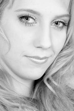 mesmerized: Studio portrait of a long blond girl looking mesmerised