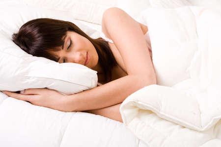 Brunette in bed sleeping Stock Photo - 2756273