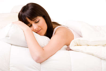 Brunette in bed sleeping Stock Photo - 2756270