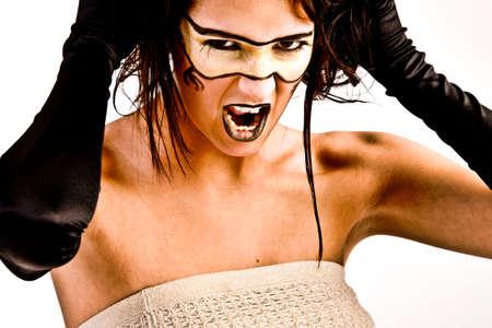 agressive: Agressive futuristic girl