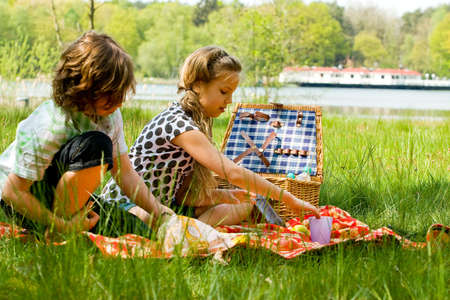 Two children enjoying a picnic in the summer photo