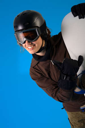 hang loose: Snowboarder in full equipment making the hang loose sign Stock Photo