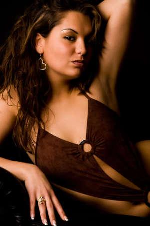 emotive: Fresh brunette girl in lingerie on a bench