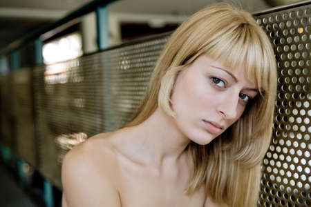 lookalike: Portrait of a Paris Hilton look-a-like looking sad at you Stock Photo