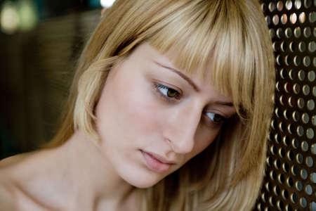 lookalike: Portrait of a Paris Hilton look-a-like thinking Stock Photo