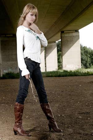 lookalike: Paris Hilton look-a-like in a fashion shoot posing