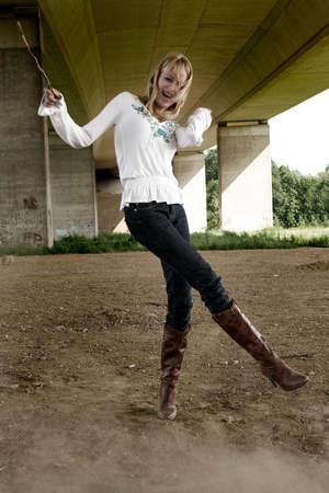 lookalike: Fun making Paris Hilton look-a-like in a fashion shoot Stock Photo