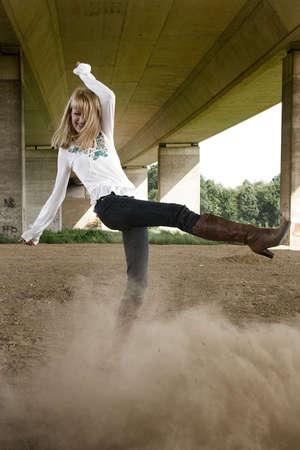 lookalike: Dust kicking Paris Hilton look-a-like in a fashion shoot