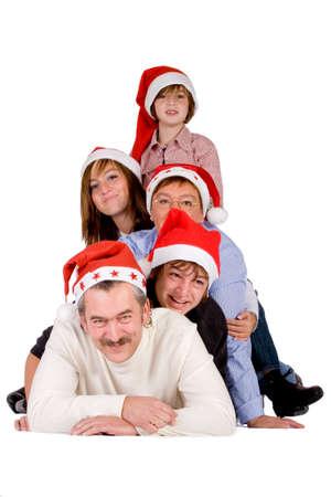 cappello natale: Buon Natale famiglia su uno sfondo bianco