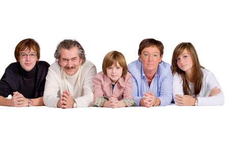 Happy big family isolated on a white background