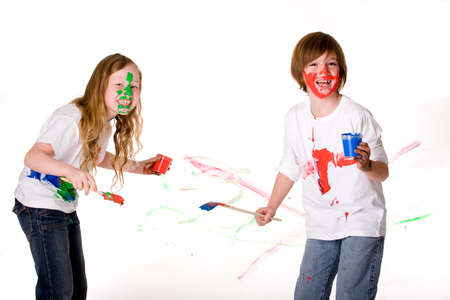 brother sister fight: Young artists @ work with the paint