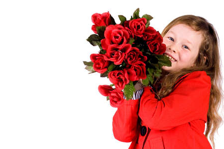Sweet valentine girl with a lot of red roses