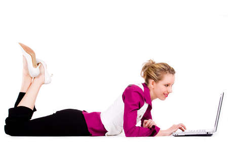 Happy commercial woman is doing her job Stock Photo