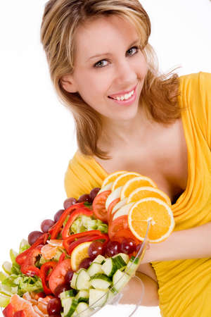 Young girl is presenting a delicous salad Stock Photo - 4144398