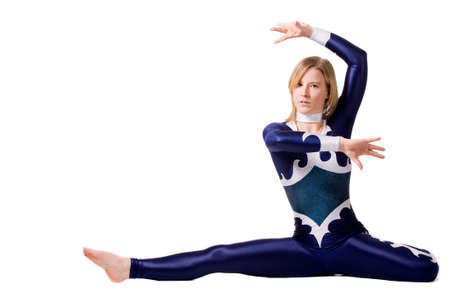 Young sportive girl with tricky gymnastic poses