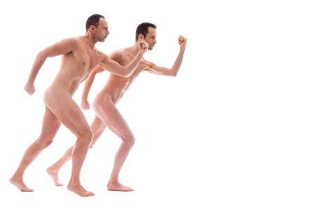 desnudo artistico: Formas art�sticas de desnudos con 2 poderosos hombres Foto de archivo