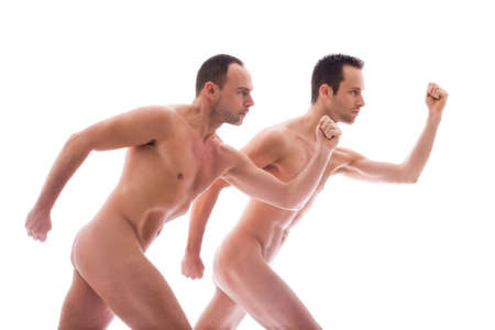 artistic nude: Artistic nude forms with 2 powerfull men
