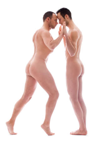 naked man: Artistic nude forms with 2 powerfull men