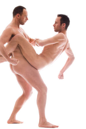 Artistic nude forms with 2 powerfull men