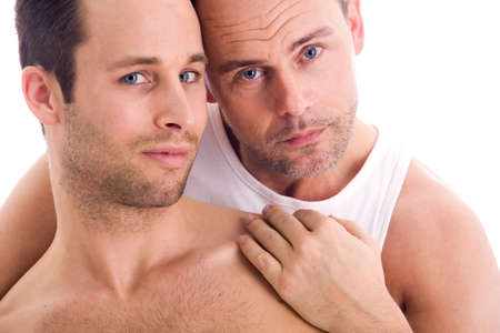 Portrait of a happy homo couple on white  Stock Photo