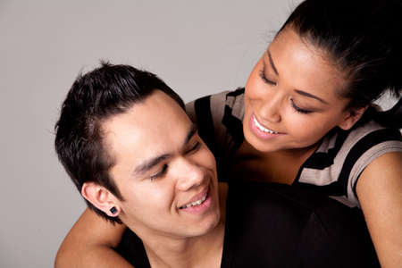 Portrait of Indonesian boy- and girlfriend in love Stock Photo - 4584493
