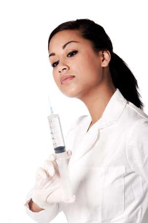Beautifull Indonesian nurse in white uniform