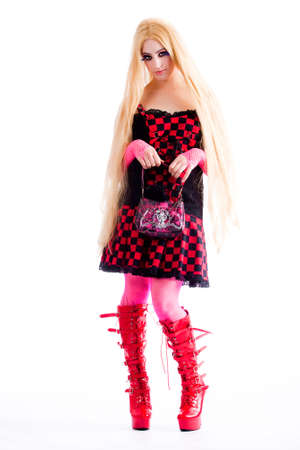Young girl dressed in japanese funky harajuku style photo