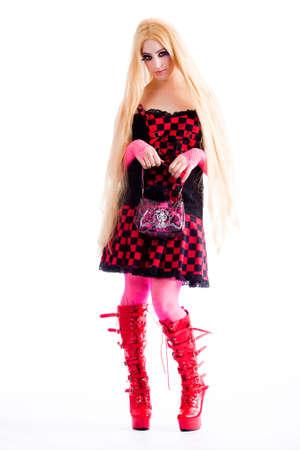 harajuku: Young girl dressed in japanese funky harajuku style