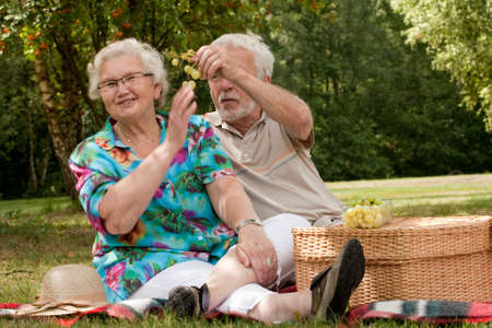 Elderly couple enjoying the spring in the park photo