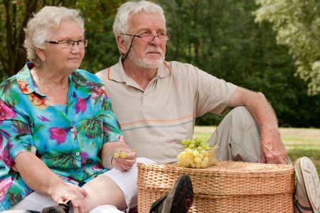 Elderly couple enjoying the spring in the park Stock Photo - 5217124