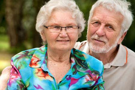 Elderly couple enjoying the spring in the park