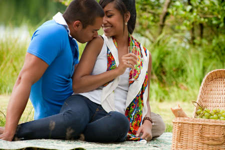 Young happy asian couple enjoying their time outdoors Stock Photo - 5441239