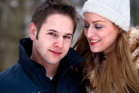 Girlfriend and boyfriend in winter photo