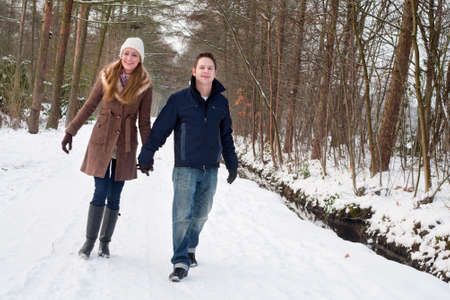 couple having a winter hike