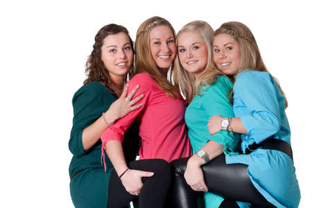 Group of young girlfriends having a happy time together